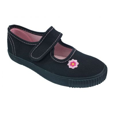 Girls Black Pumps With Pink flower, Contrast Insole and Stitching