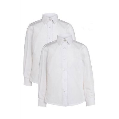 Girls White Non-Iron Blouse Long Sleeves Twin Pack