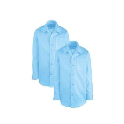 Boys White Non-Iron Shirt Long Sleeves Twin Pack
