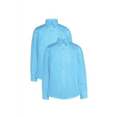 Girls Non-Iron Blue Long Sleeve Blouse Twin Pack