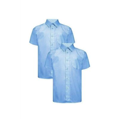 Boys Blue Non-Iron Shirt Short Sleeves