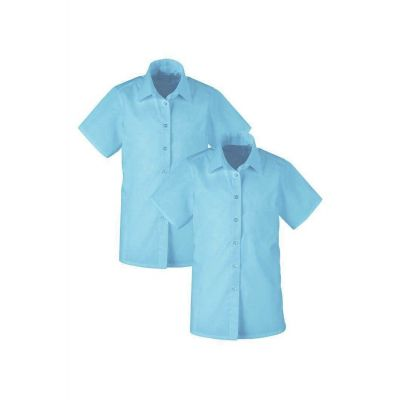 Girls Non-Iron Blue Short Sleeve Blouse Twin Pack