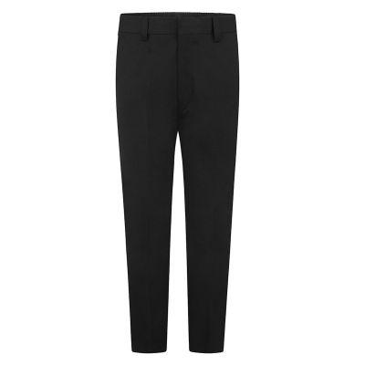 Boys Black Slim Fit Half Elastic, Zip & Fly School Trousers