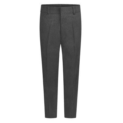 Boys Grey Slim Fit Half Elastic, Zip & Fly School Trousers