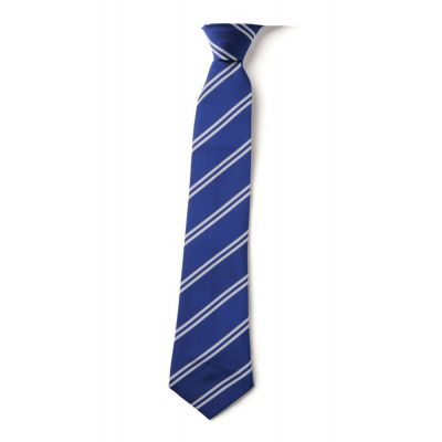 Royal School Tie With Thin Silver Stripes-Clip On