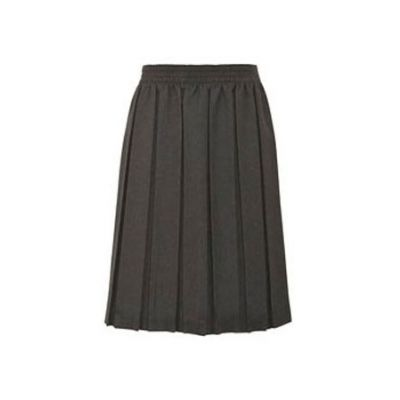 Girls Grey Box Pleated Skirt