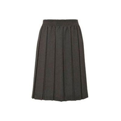 Girls Grey Box Pleated Skirt