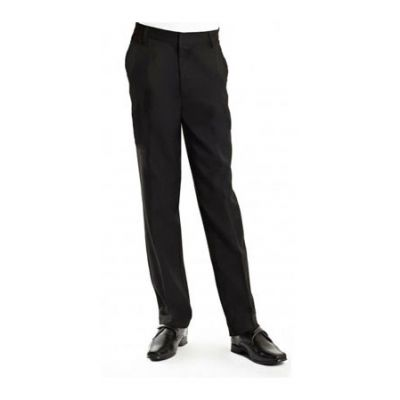 Boy's Black Slim Fit Adjustable Waist Size School Trousers