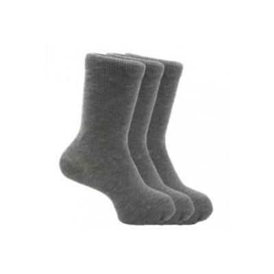 School Ankle Socks 3 Pair Pack Grey