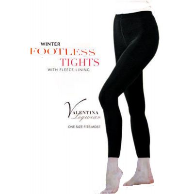 LADIES BLACK THICK FOOTLESS FLEECE LINED WINTER WARM STRETCH TIGHTS
