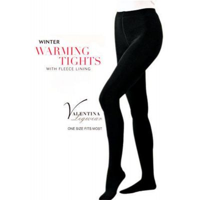 LADIES BLACK THICK FULL FOOT FLEECE LINED WINTER WARM STRETCH TIGHTS