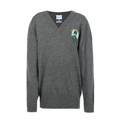 Markland Hill Logo Grey Knitted V Neck Jumper